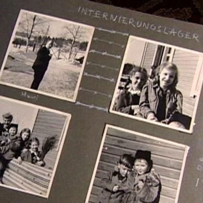 Valokuva-albumissa kuvia vuoden 1945 internointileiriltä.