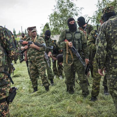 Separatisteja aseineen pellolla.