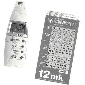 Bild på en Parcard-apparat med vilken man kunde betala för parkering på 1990-talet.