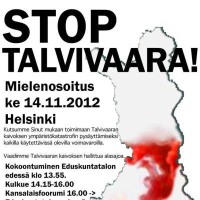 Stop-Talvivaara mielenosoitus ilmoitus
