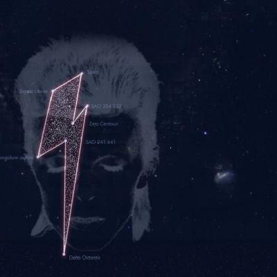 David Bowien kunniaksi rekisteröity tähtikuvio on salamanmuotoinen. Kuvakaappaus Stardust for Bowie -internetsivuilta.