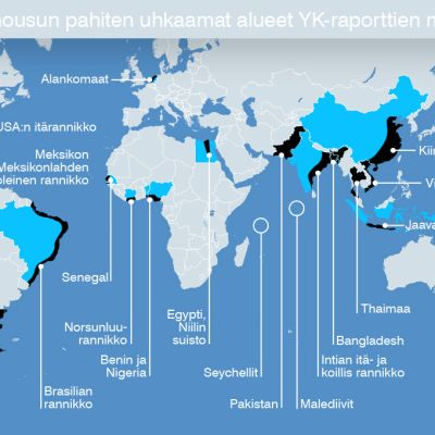 Merennousun pahiten uhkaamat alueet YK-raporttien mukaan -grafiikka.