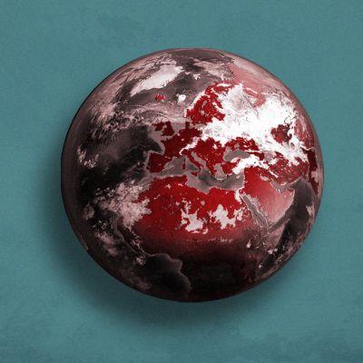 Punaiseksi värjätty maapallo. Kuvitus esittää koronaviruksen leviämistä.