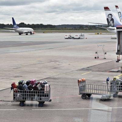 Laukkuja Arlandan lentokentällä Tukholmassa 17. elokuuta 2013.