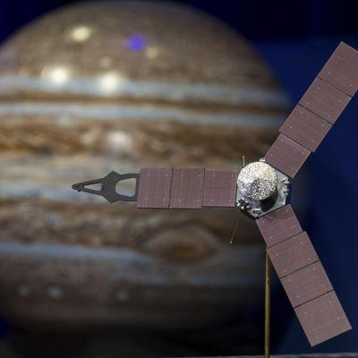 Havainnekuvassa luotain on Jupiterin edustalla. Jupiter on ruskea, mutta sen pinnalla kulkee sinerviä juovia.