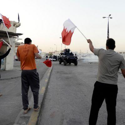Mielenosoittajat heiluttavat kadulla lippuja.