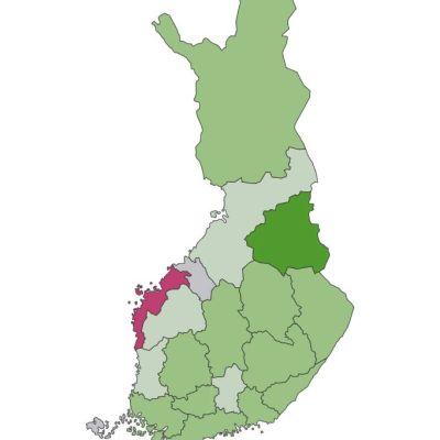 Kartta rotovirusrokotteen kattavuudesta Suomen maakunnissa.