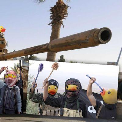 ankkapäisiä terroristeja poseeraa aseiden kanssa