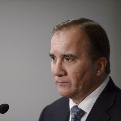 Ruotsin pääministeri Stefan Löfven lehdistötilaisuudessa 20. lokakuuta 2014 Helsingissä.