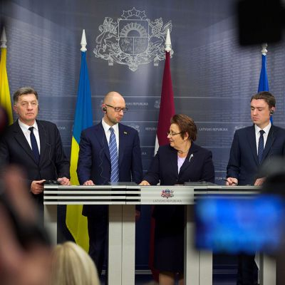Algirdas Butkevicius, Arseniy Yatsenyuk, Laimdota Straujuma ja Taavi Roivas.