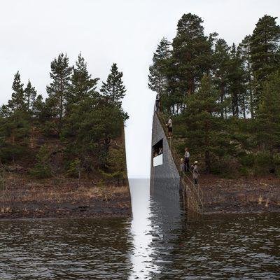 Ruotsalaisen taiteilija Jonas Dahlbergin suunnitelma muistomerkiksi vuoden 2011 joukkosurman uhrien muistoksi Utoyan saarelle Norjaan.