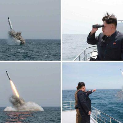 Neljän kuvan yhdistelmä merestä nousevasta ohjuksesta ja sitä laivan kannelta kiikaroivasta Kim Jong-unista.