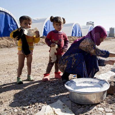 Kaksi pikkulasta syö leipää äitinsä veressä. Äiti levittää lisää taikinaa nuotion päälle viritetylle paistoalustalle. Taustalla rivi samanlaisia sinivalkoisia telttoja.