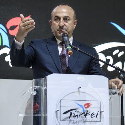Turkin ulkoministeri Mevlüt Çavuşoğlu puhui kansainväliseen kauppaan liittyneesä tilaisuudessa keskiviikkona Berliinissä.