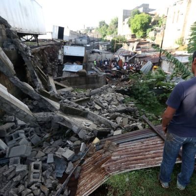 Maanvyöryn tuhoja Guatemalassa.