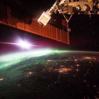 Revontulia kuvattuna ISS-asemalta.