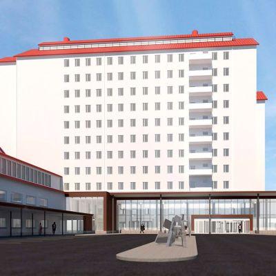 Havainnekuva Pohjois-Karjalan keskussairaalan uudesta pääsisäänkäynnistä, joka valmistuu alkusyksystä 2022.