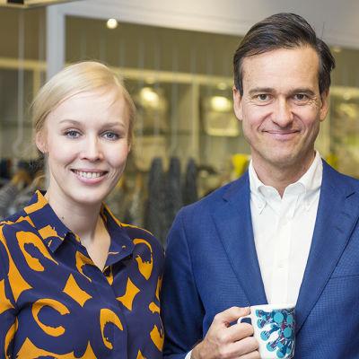 Marimekkos Tiina Alahuhta-Kasko och Mika Ihamuotila.