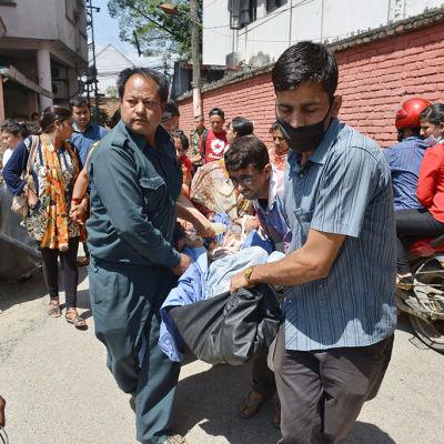 Jordbävning i Nepal den 12 maj 2015.
