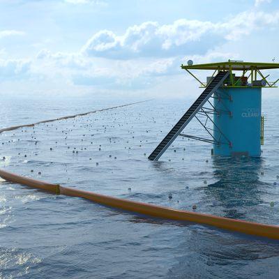 Boyan Slatin havainnekuva Ocean Clean Up -projektista.