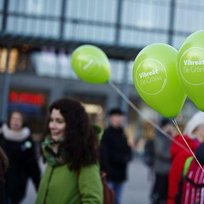 Vihreiden eduskuntavaalikampanjan avaustilaisuus Narinkkatorilla Helsingissä 12. maaliskuuta.