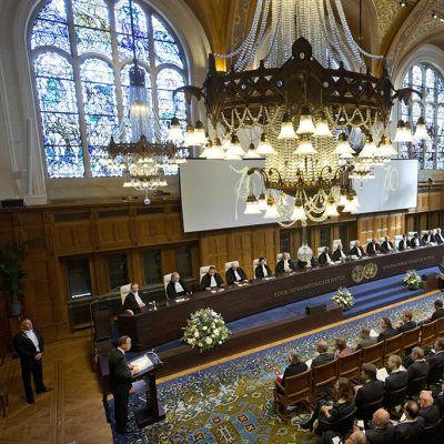 Kansainvälisen tuomioistuimen juhlallisuudet Haagissa keskiviikkona.