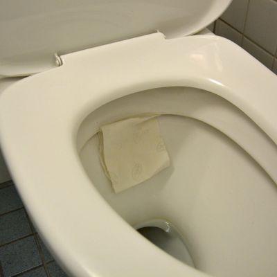 Vessapaperinpala wc-pöntön sisäseinässä