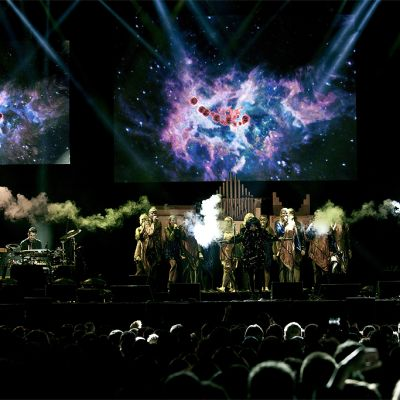Björk with her Biophilia extravaganza at the 2012 Flow Festival.