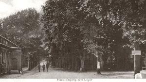 Gammalt vykort av huvudingången till Lockstedter Lager