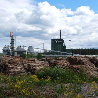 Äänekosken historiaan jäävä sellutehdas kuvattuna kesäkuussa 2015. Puukentän paikalle nousee uusi tehdas.