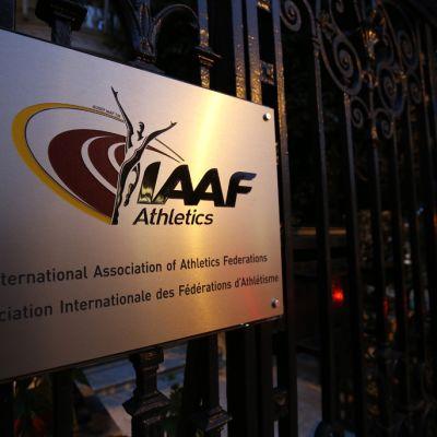 Kansainvälisen yleisurheiluliiton päämajan portti.