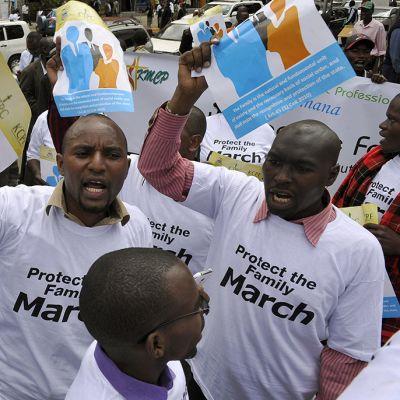 Homovastainen mielenosoitus Nairobissa 6. heinäkuuta 2015.