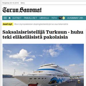 Kuvakaappaus Turun Sanomien uutisesta
