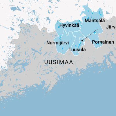 Keski- ja Uudenmaan kartta.