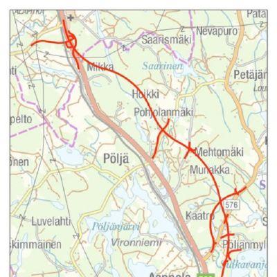 Havainnekuva: Uusi tielinjaus kulkee nykyisen valtatien itäpuolella.