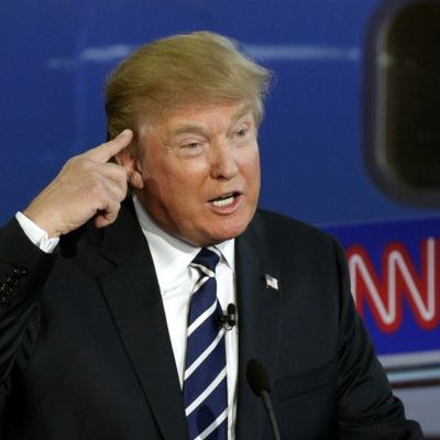 Republikaanien esivaaliehdokas Donald Trump väittelyssä.