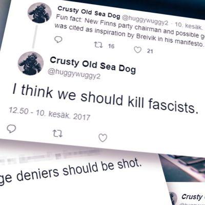 Bild på skärmdumpar från Twitterkonto där någon uppmanar att skjuta fascister. I bakgrunden en dator.