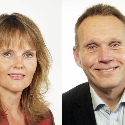 Kansanpuolueen valtiopäiväedustaja Nina Lundström ja sosiaalidemokraattien valtiopäiväedustaja Pyry Niemi.