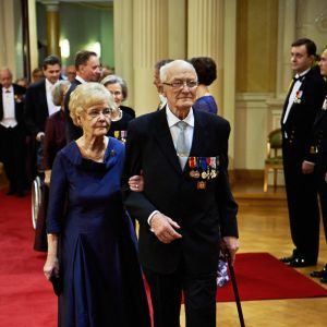 Krigsveteranen Leo Jokelainen med frun Annikki Jokelainen