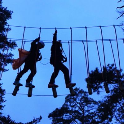 Kaksi ihmistä köysiradalla kahden puun välissä