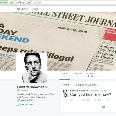 """Kuvaruudulla näkyy Edwardin Snowdenin ensimmäinen twiittaus: """"Can you hear me now?"""""""