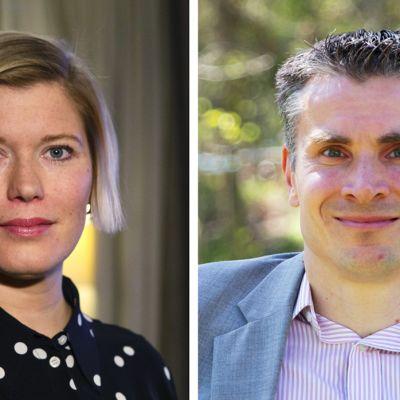 Swedpankin pääekonomisti Heidi Schauman ja Nordean pääanalyytikko Jan von Gerichiltä