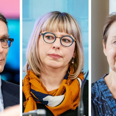 Oikeuskansleri Tuomas Pöysti, sosiaali- ja terveysministeri Aino-Kaisa Pekonen ja sosiaali- ja terveysministeriön kansliapäällikkö Kirsi Varhila.