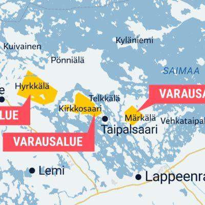 Telkkälän malminetsinnän varausalueet kartalla