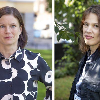 Elinkeinoelämän valtuuskunnan ekonomisti Sanna Kurronen ja Palkansaajien tutkimuslaitoksen johtaja Elina Pylkkänen.