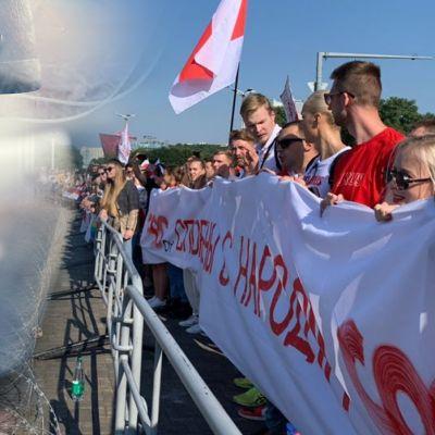 Valko-Venäjän urheilijat ovat osallistuneet aktiivisesti Minskissä järjestettäviin marsseihin vastustaakseen nykyhallinnon toimia.
