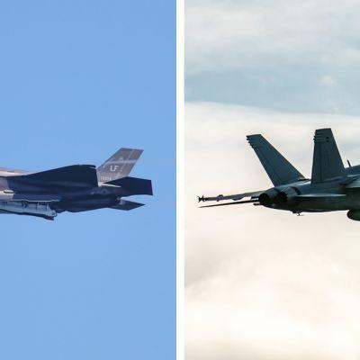 Kuvassa ovat F-35 Lightning II ja Super Hornet -hävittäjät.