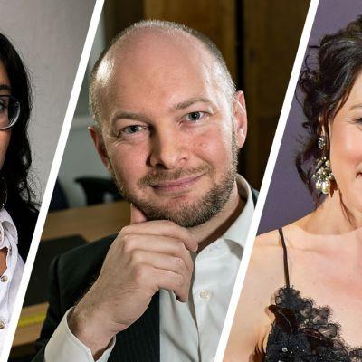 Kirjailijat Koko Hubara, Sampo Terho ja Hanna Brotherus.
