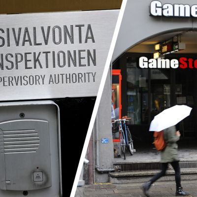 Finanssivalvonnan ovikyltti Helsingissä sekä Gamestopin liike Sveitsin Bernissä.