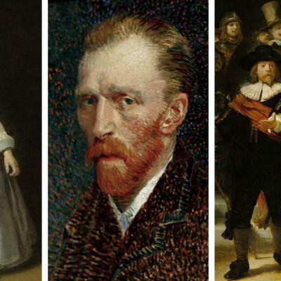 Yksityiskohdat maalauksista: Gerard ter Borchin muotokuva Helena van der Schalckesta, Vincent van Goghin omakuva ja Rembrandtin Yövartio.